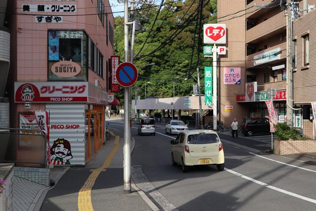 駅前バス停の前を通り「薬のレディ」を右手に見ながら直進し、コンビニポプラの先の交差点(信号機)を直進。